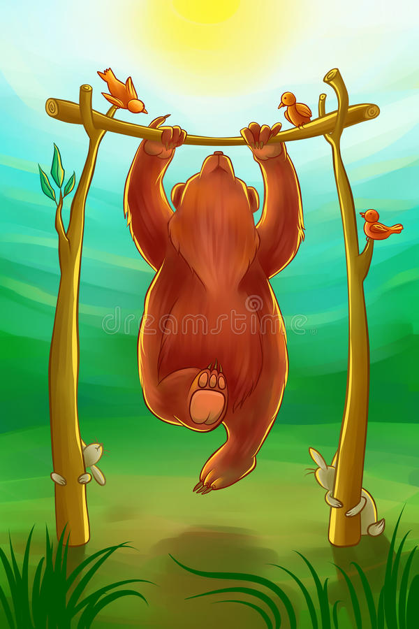 Bear doing chin-ups. In the morning stock illustration