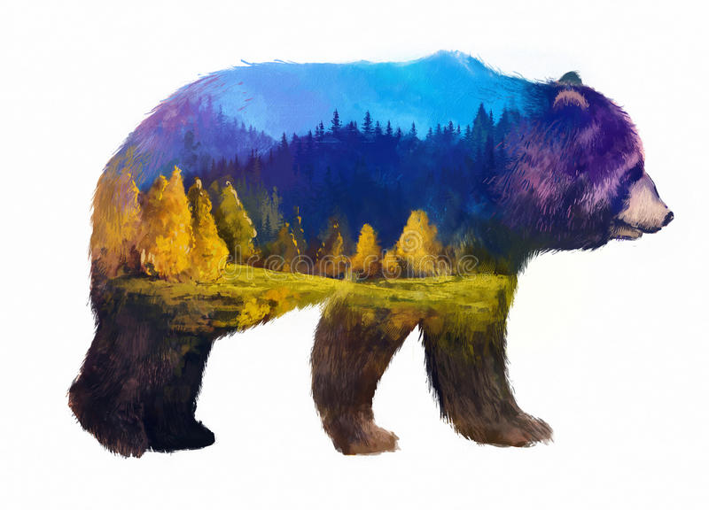 Bear double exposure illustration. The grizzly bear on white background double exposure illustration. Retro design graphic element. This is illustration ideal stock illustration