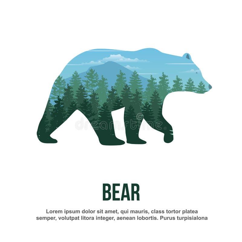 Bear Double Exposure. Double exposure of bear. Vector Illustration royalty free illustration