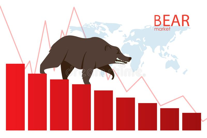 Bear down the stairs. The trend is a downtrend. Falling market. Graphic design concept of stock market Bearish trend. Vector. Bear down the stairs. The trend is stock illustration