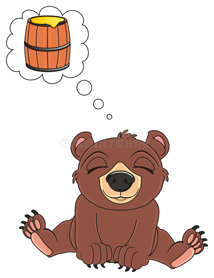 Bear dreaming about a honey stock illustration