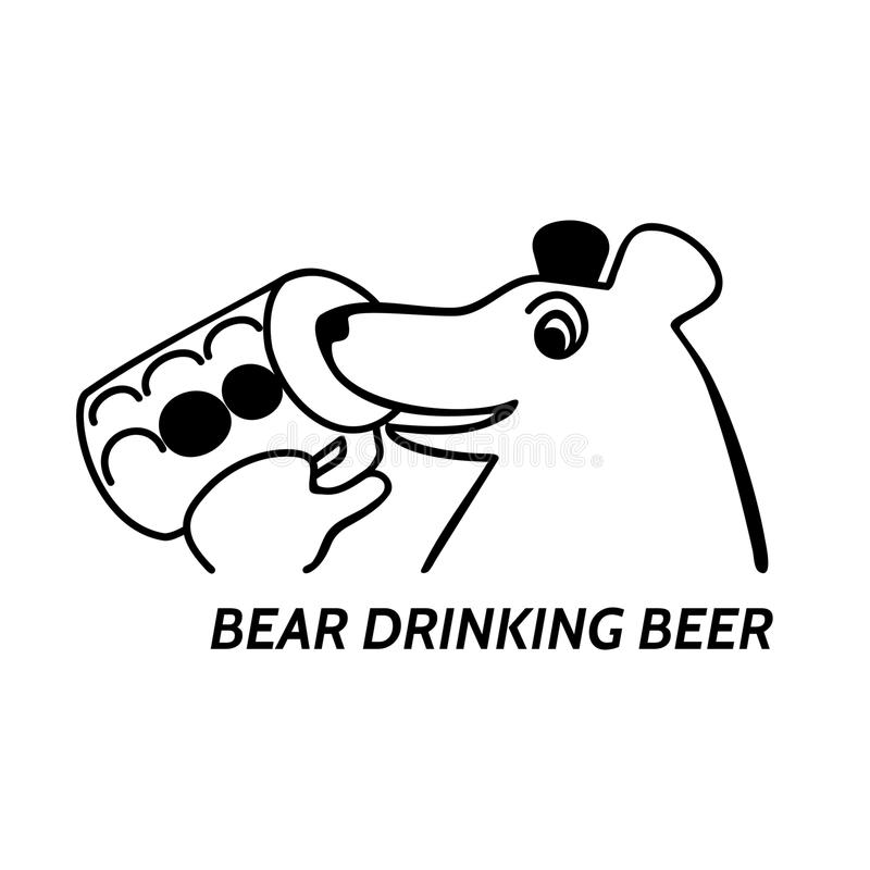 Bear drinking beer stock image