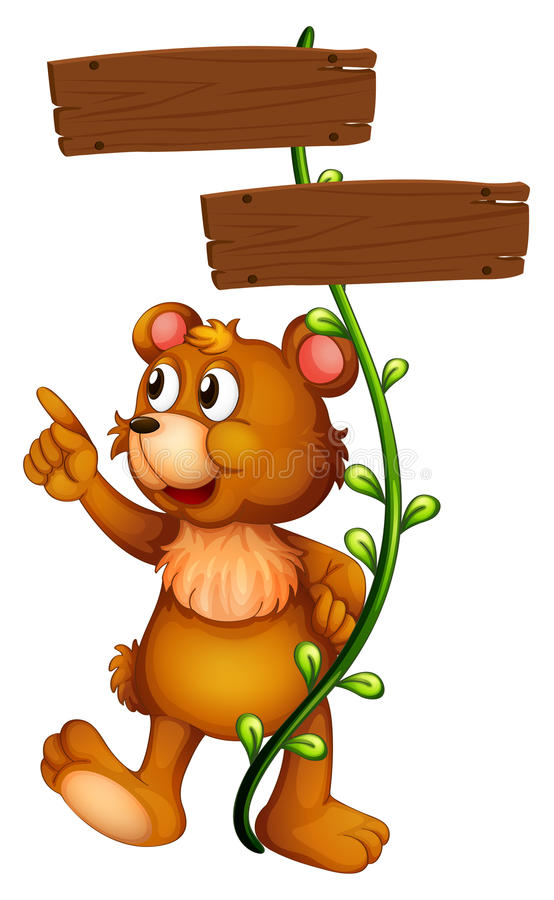 Download A Bear And The Empty Signboard Stock Illustration - Image: 29152221