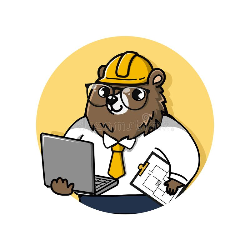 Cute bear engineer mascot cartoon. Logo cute and friendly bear engineer holds a laptop computer and drawing documents vector illustration