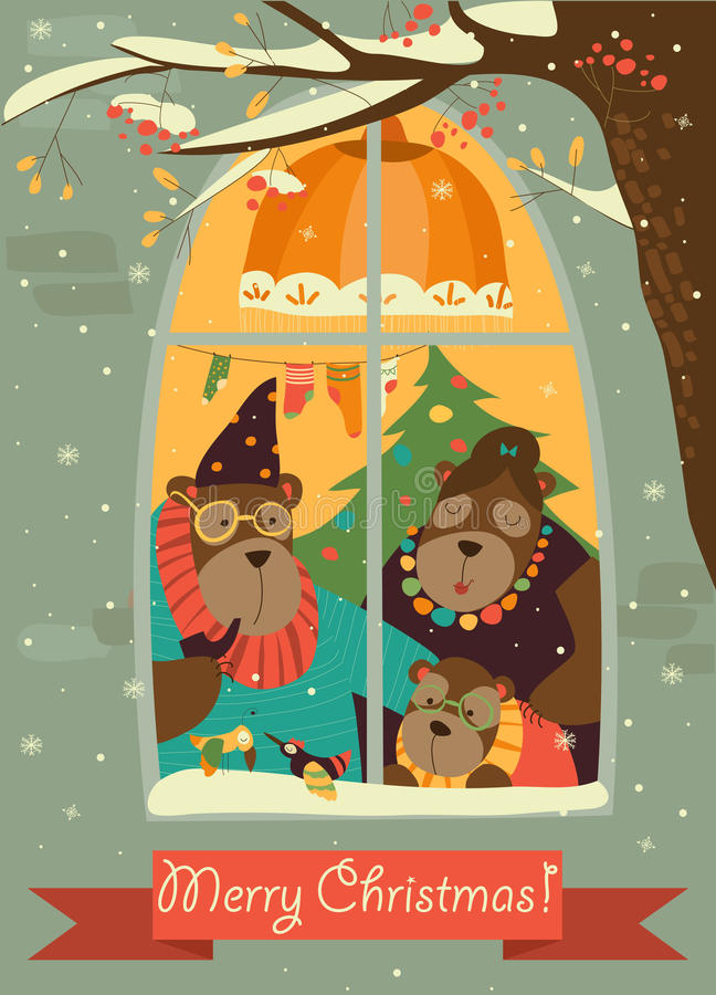 Bear family looking out of the window at snow vector illustration