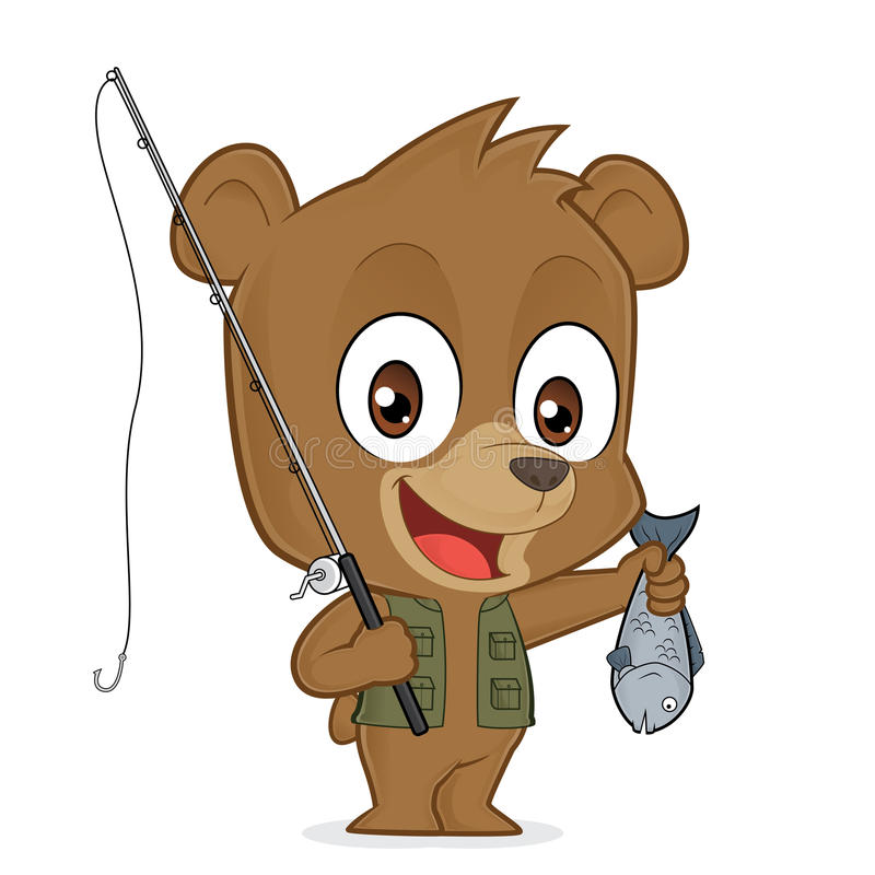 Bear fisherman. Clipart picture of a bear fisherman cartoon character royalty free illustration