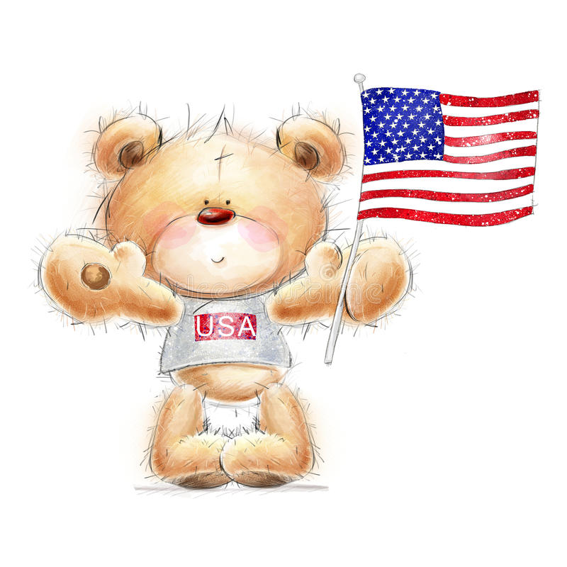 Cute Teddy bear with the USA flag. Background wit vector illustration