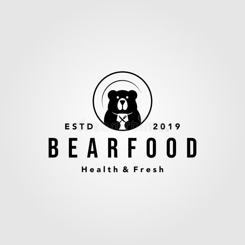 Bear food plate logo vintage retro vector icon illustration stock illustration