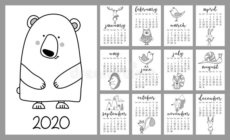Bear and forest animals calendar for 2020 year. royalty free illustration