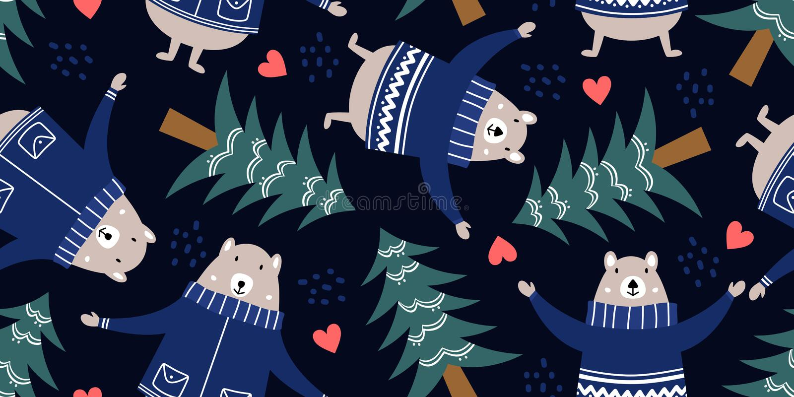 Bear and forest pattern for baby clothes. Hand drawn cute winter animal cartoon scandinavian style vector illustration