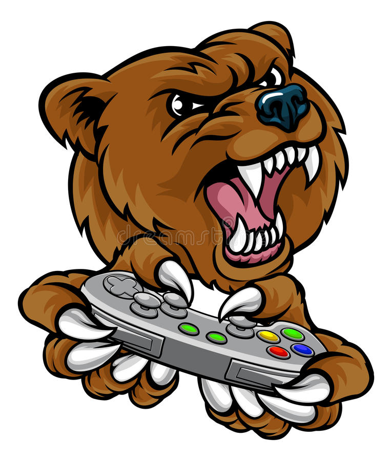 Bear Gamer Player Mascot. A bear video game player online sports gamer animal mascot holding a controller stock illustration