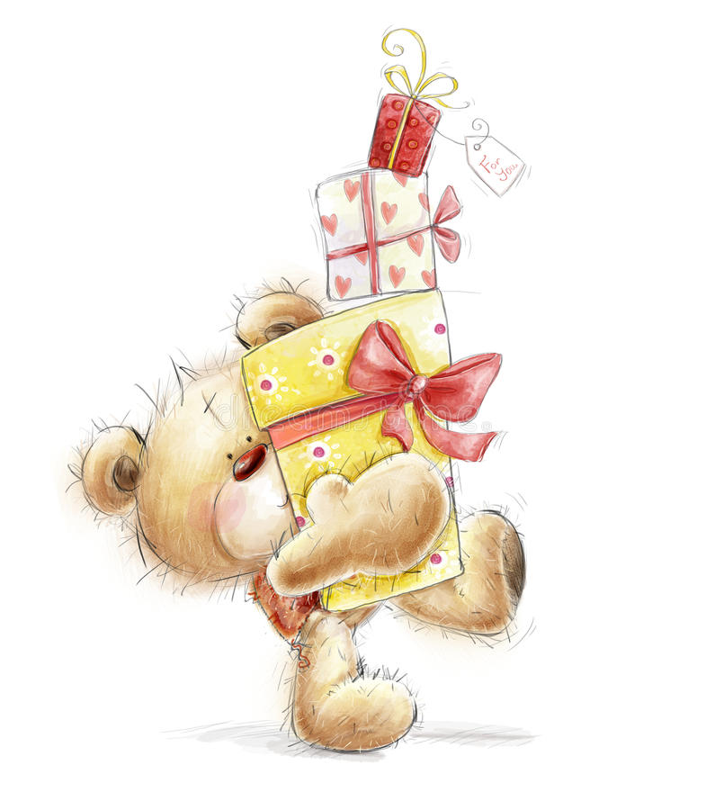 Teddy bear with the gifts.Childish illustration in stock illustration