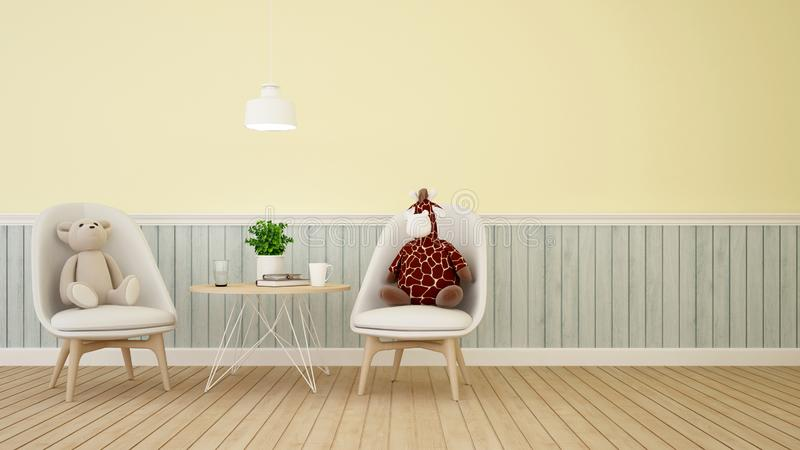 Bear and giraffe doll in dining room or kid room on pastel color- 3D Rendering vector illustration