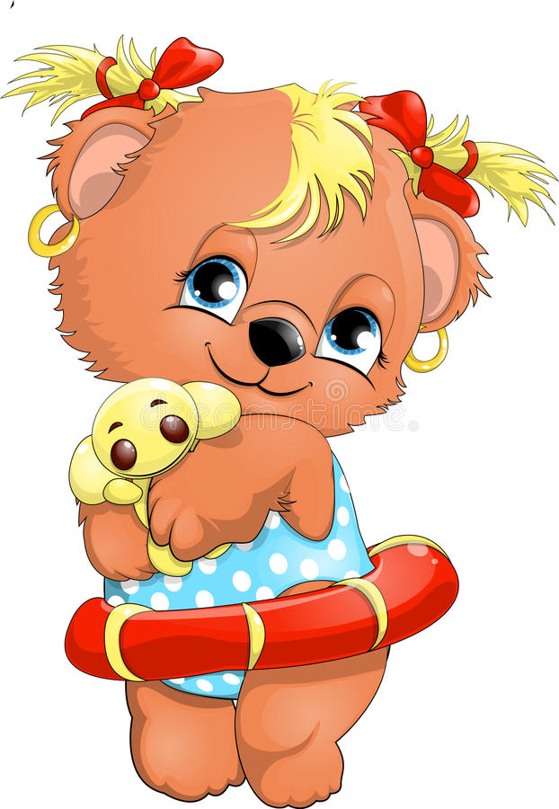 Bear girl. Bear cub with an inflatable toy and a circle stock illustration