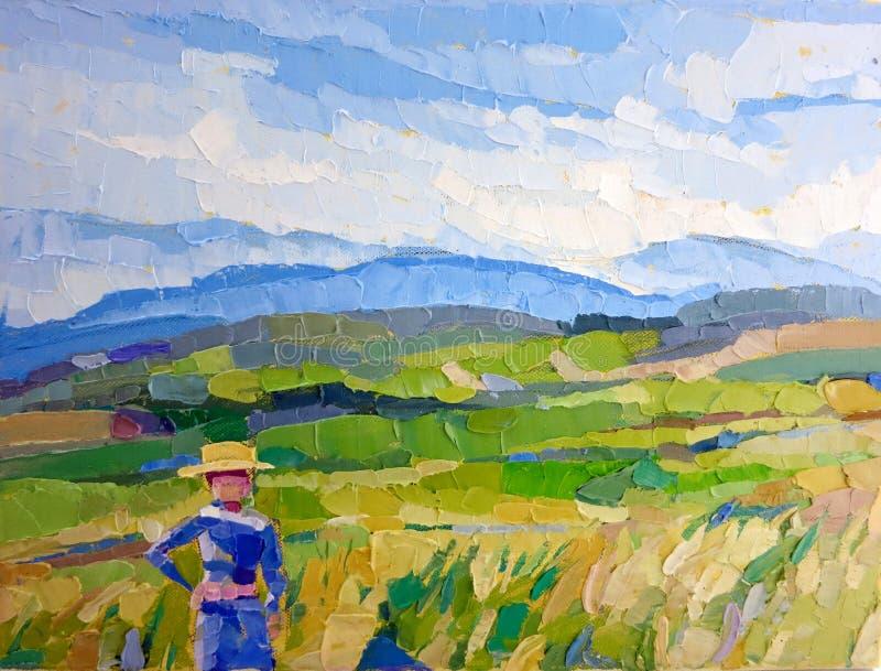 Bear grains Rice field farmer oil painting royalty free illustration