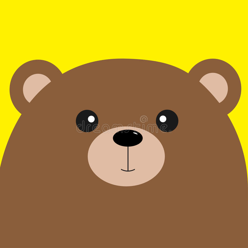 Bear grizzly big head. Cute cartoon character. Forest baby animal collection. Yellow background. . Flat royalty free stock photo