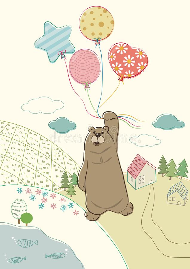 Bear Hanging With Balloons vector illustration