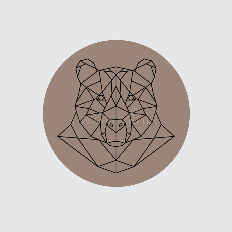 Bear head in polygonal style. Triangle vector illustration of animal for use as a print on t-shirt and poster royalty free illustration