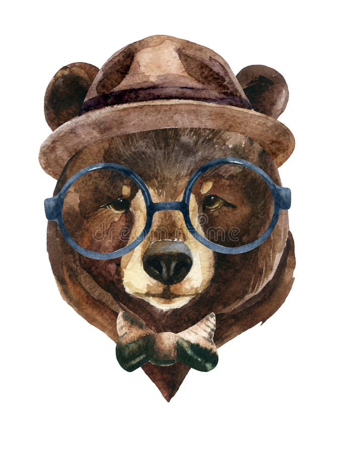 Bear head watercolor stock photo