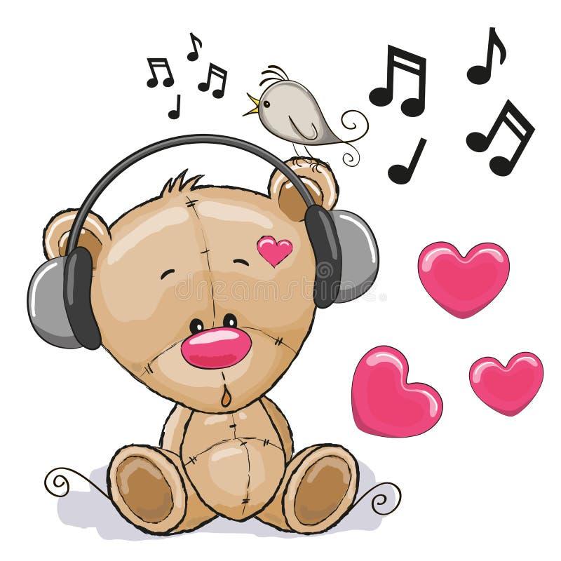 Bear with headphones vector illustration