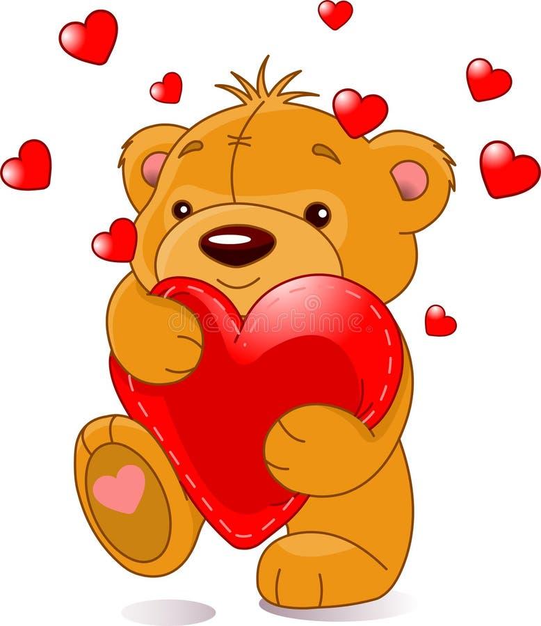Bear with heart stock illustration