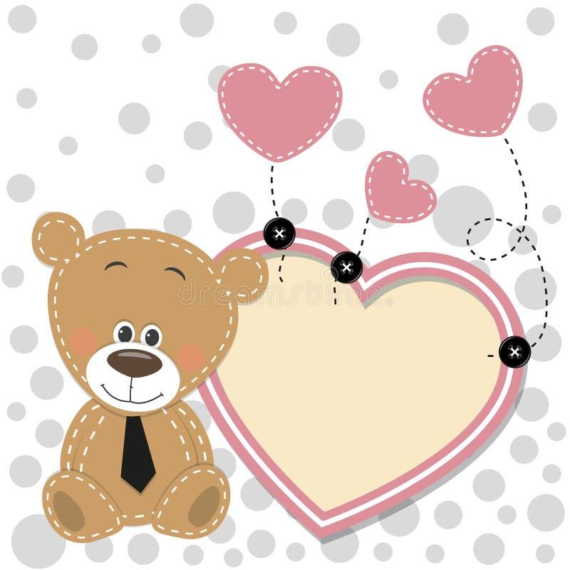 Bear with heart frame stock illustration