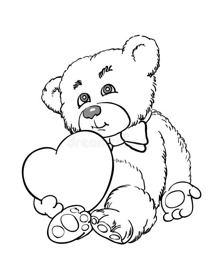 Картинки мишки с сердечками черно-белую
