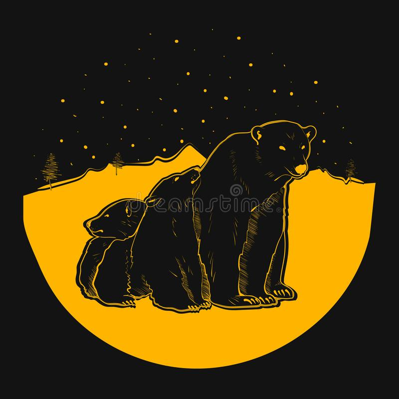 Bear and her cubs. On black background. Design for printing on t-shirts and various surfaces. Vector illustration - Vector vector illustration