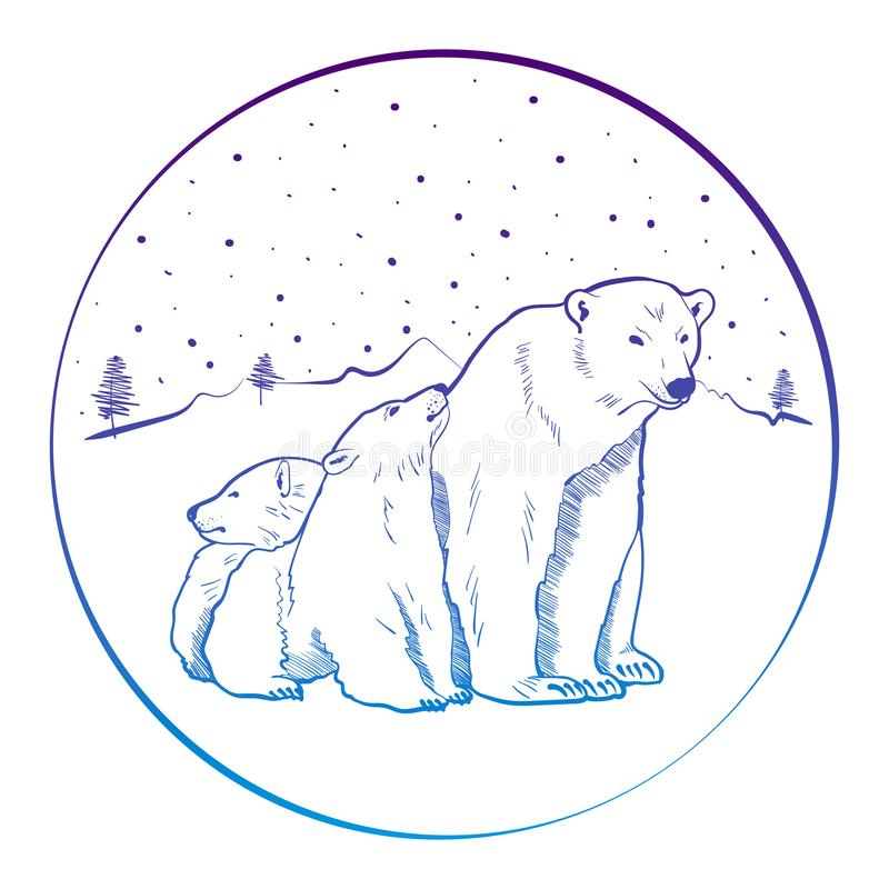 Bear and cubs. Bear and her cubs on white background. Design for printing on t-shirts and various surfaces. Vector illustration - Vector royalty free illustration