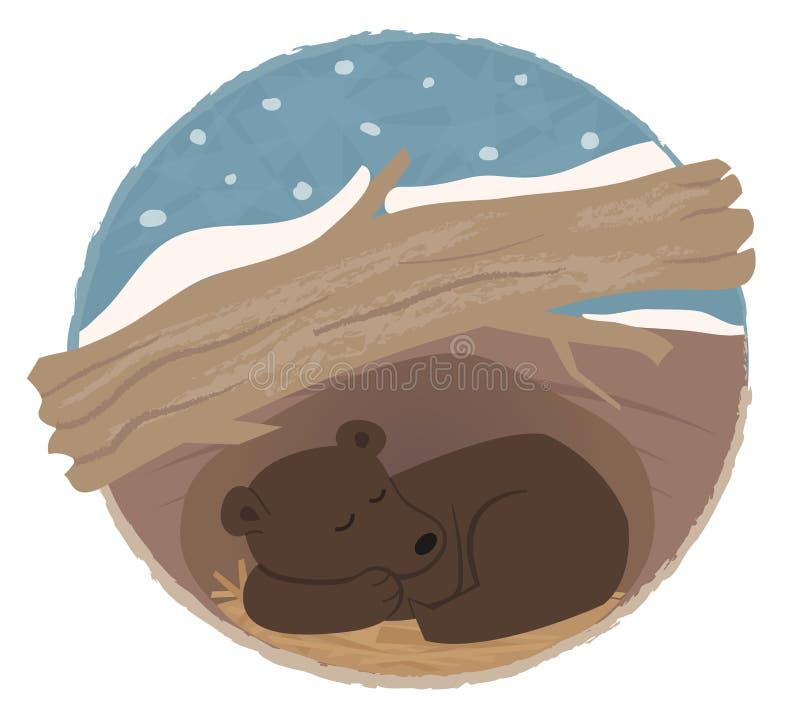 Bear Hibernating stock illustration