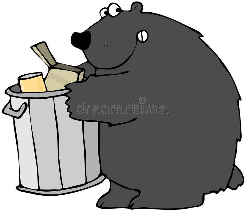 Download Bear Holding A Garbage Can stock illustration. Image of carnivore - 24592472