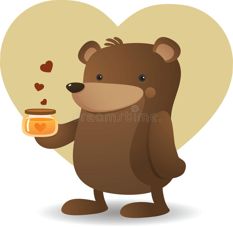 Download Bear and Honey stock vector. Image of brown, love, illustration - 13189160
