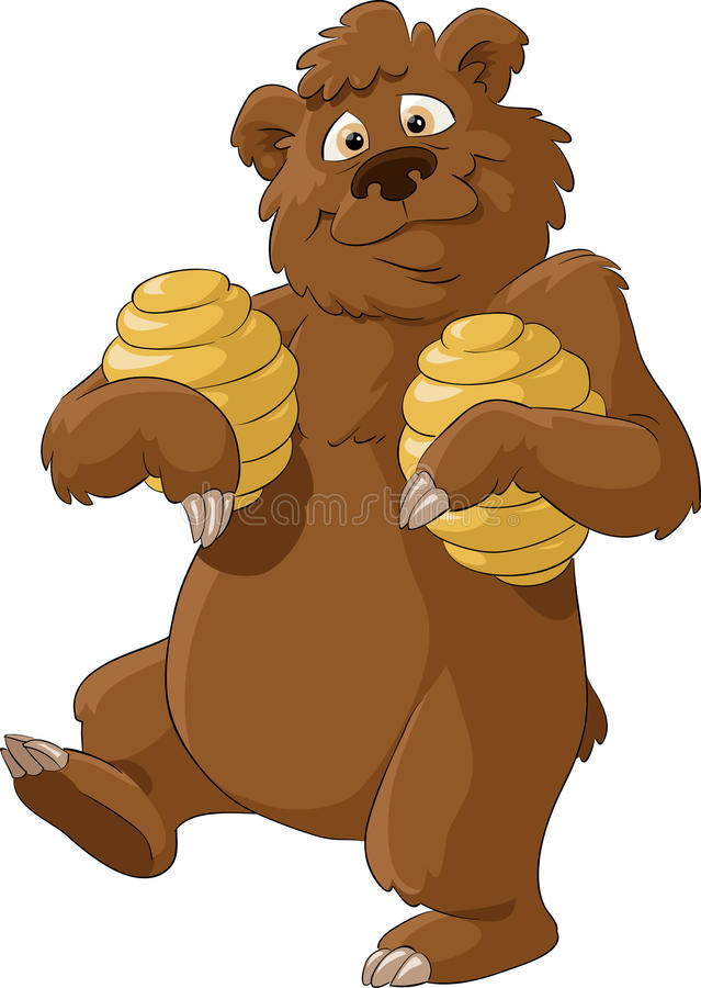 Bear and honey. Bear with honey on a white background, vector