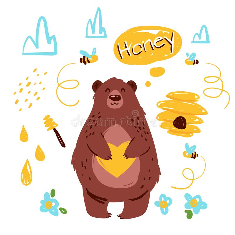 Bear with honey hand drawn vector illustration royalty free illustration