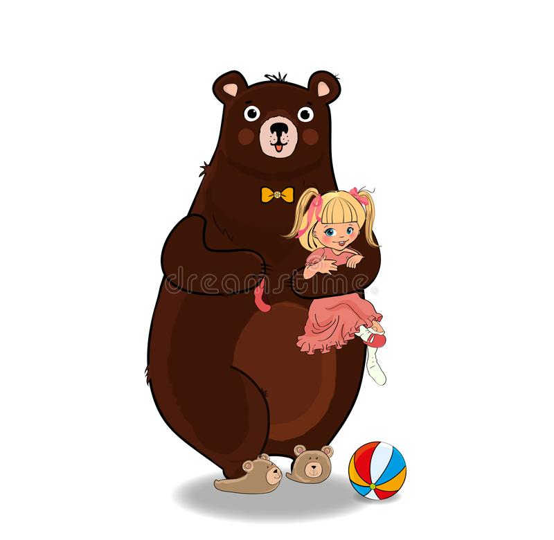 Bear Hug and Holding in Paws Little Baby Girl stock illustration