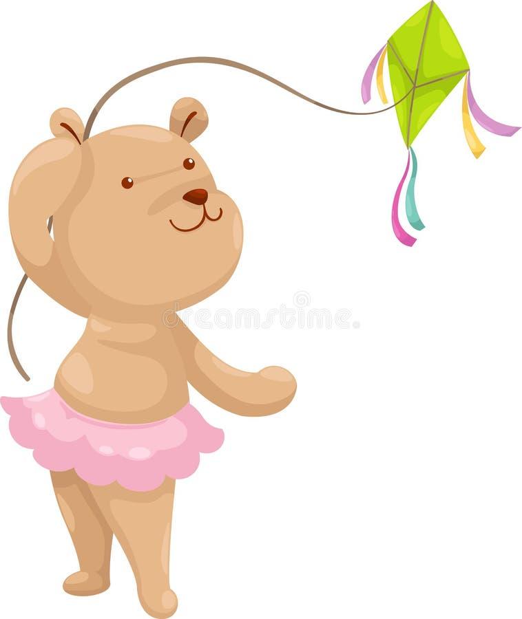 Bear With A Kite Vector Stock Photo