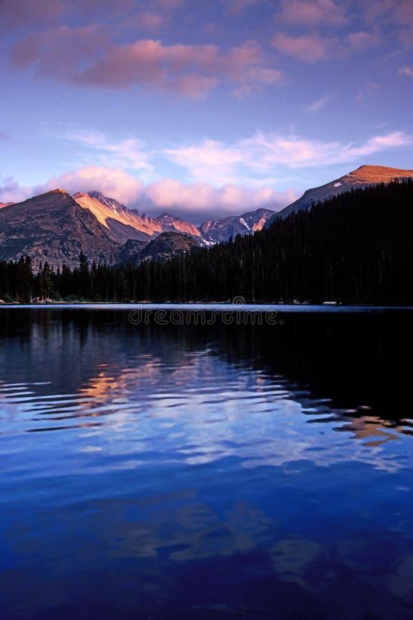 Bear Lake, Rocky Mountain National Park. Sunset on Long's Peak reflects in Bear Lake, Rocky Mountain National Park, Colorado royalty free stock images