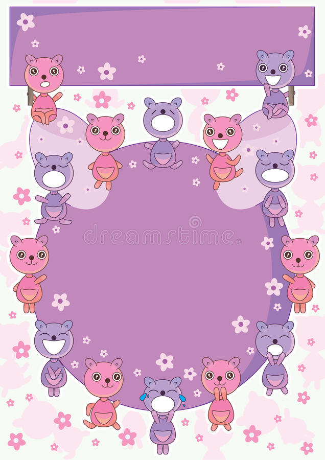 Bear Land Circle Card_eps Stock Photos