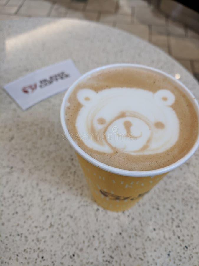 Bear latte art royalty free stock image