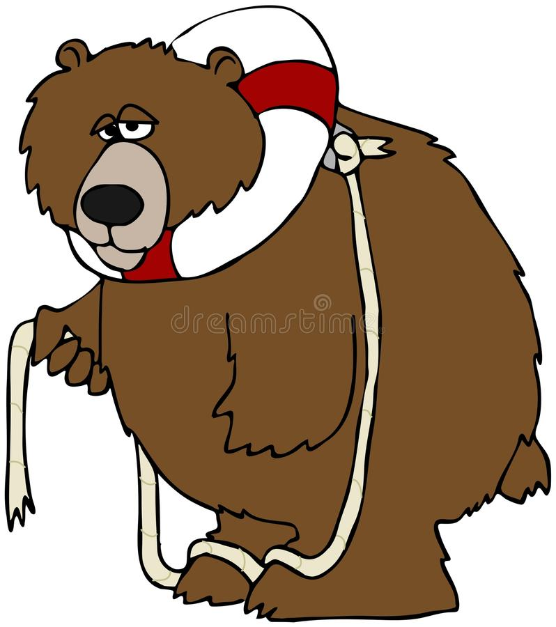 Bear With A Life Preserver. This illustration depicts a bear with a life preserver buoy around its neck royalty free illustration