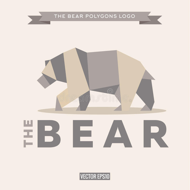Bear logo origami with effects polygon and flat royalty free illustration