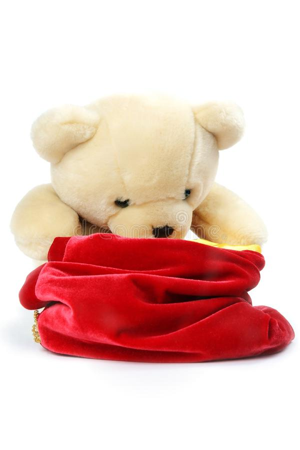 Free Bear Looking Into Santa`s Bag Stock Photography - 11953802