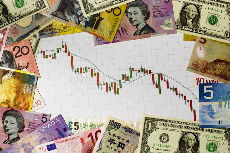 Bear market. Candlestick chart showing a bear market surrounded by currencies of various countries royalty free stock images