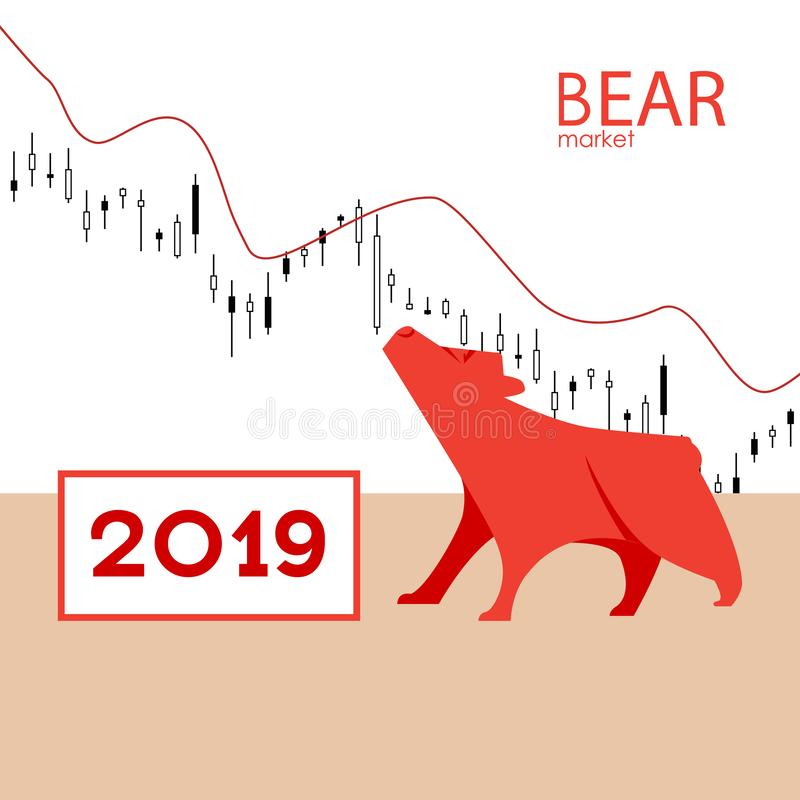 Bear market. Bear and red arrow. The chart and the indicator show a downward trend. Stock market vector. Bear market. Bear and red arrow. The chart and the stock illustration
