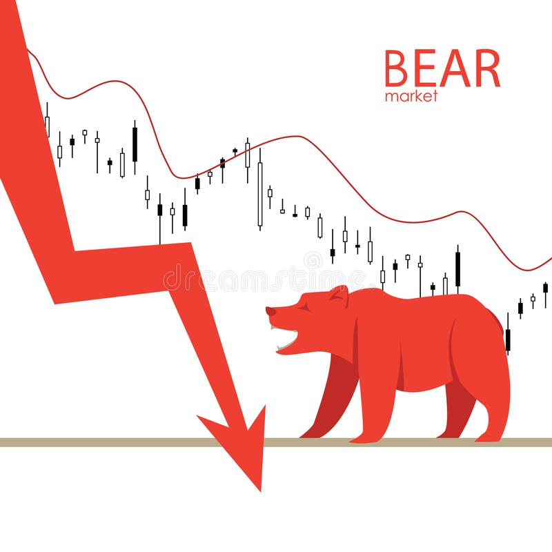 Bear market. Bear and red arrow. The chart and the indicator show a downward trend. Stock market vector. Bear market. Bear and red arrow. The chart and the royalty free illustration