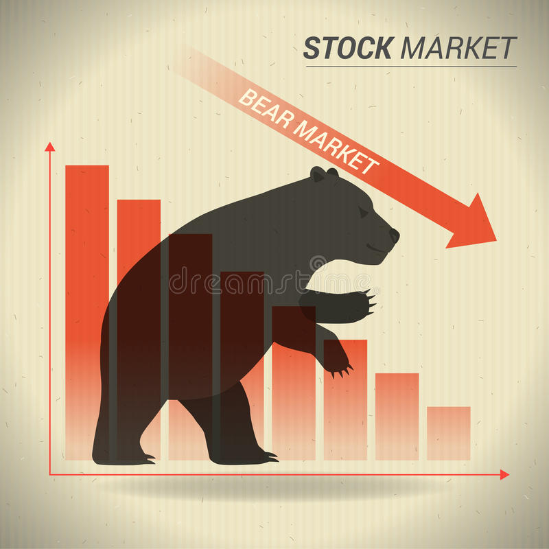 Bear market concept presents stock market with bear in front of. Red downtrend graph on brown paper vector illustration