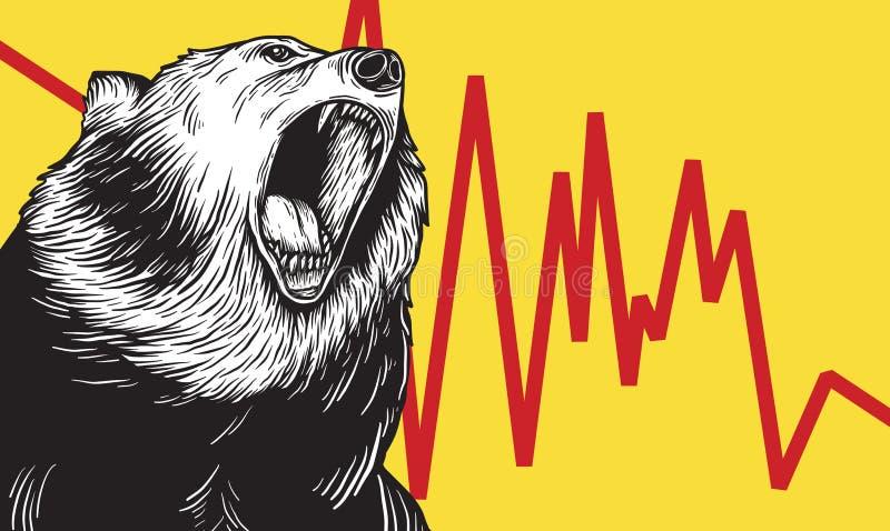 Bear Market Icon Symbol Concept vector illustration