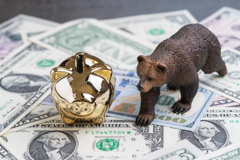 Bear market investing concept, golden piggy bank with bear figure walking on US Dollar banknotes.  stock photo