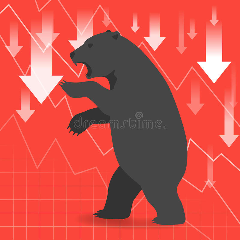 Bear market presents downtrend stock market concept. With down arrow and graph on red background stock illustration