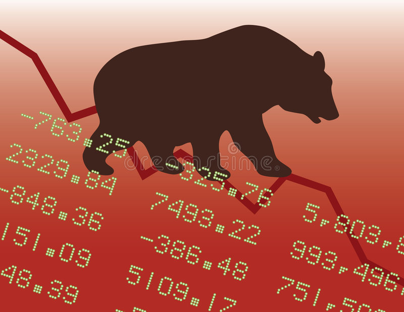 Bear Market in the Red. Illustration of a bear market downtrend